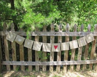 sweet love Glittered Burlap Wedding Banner