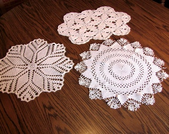 Destash of 3 Crocheted Doilies / Assortment of 3 Doilies