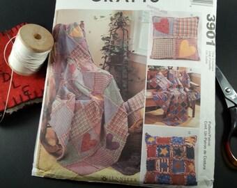 Rag quilt Throw Pillow Pattern McCall's 3901 Home Decor Uncut