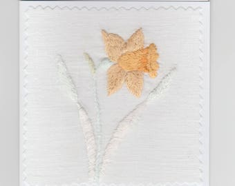 Handmade Embroidered Daffodils Vintage Linen Greeting Card. Ideal for Mother's Day or Birthday Size 10 x 10 cm. Envelope Included.