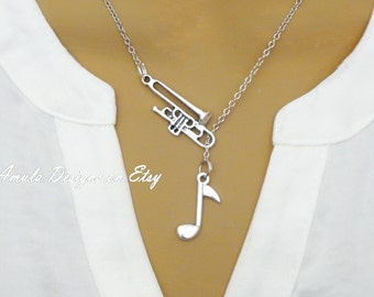 Trombone and Music Note School Band Musical Instrument Lariat Necklace
