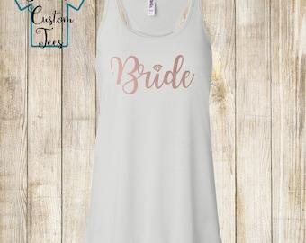 Rose Gold Bride Tank, Bachelorette Party Tank, Bride Diamond Ring, Flowy Tank Top, Racerback Tank, Bride Gift, Bride Shirt