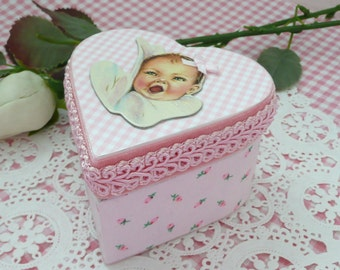 New Baby Girl Heart Shaped Decoupage Trinket Box  - New Baby Gift