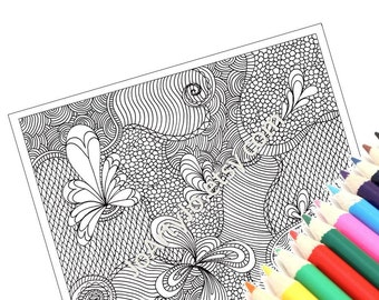 Coloring Page, Printable Intricate Zentangle Inspired Paisley Coloring Sheet, Zendoodle Page 37