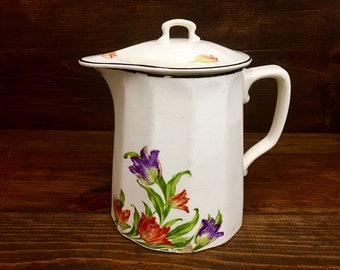 Antique Harker Coffee Pitcher and Lid with Purple and Orange Tulips 1930's