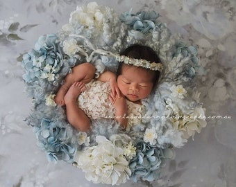 NEWBORN FLOWER CROWN {Bella} Newborn Photo Prop, Floral Crown, Newborn Headband, Newborn Tieback, Newborn Halo, Newborn Photography Props