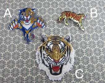 Tiger Iron on Patch, Embroidered Tiger Patches Stickers