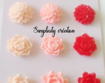 Flower cabochon resin red and pink set of 12