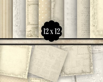 Beige Paper Pack 12 x 12 inch crafting scrapbooking junk journal pages instant download printable digital paper digital sheet - VDPASC1090