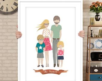 Custom family portrait, Custom couple illustration, personalized portrait, couple portrait, pet portraits, wedding gift, wedding portrait