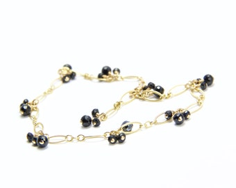 Delicate Black Gemstone Bracelet || Black Onyx and Spinel Gold Filled Bracelet