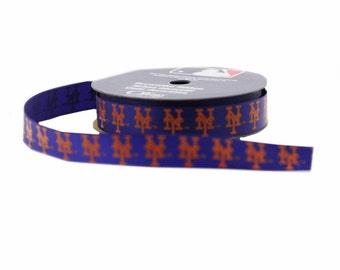 Offray MLB New York Mets Stoff Ribbon, 5/8-Zoll 9-Fuß, Blau/Orange