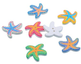 5 buttons wood - 21x19mm - Starfish-shaped 2 holes - multicolored