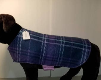 Reversible Fleece Dog Coat,  Purple Plaid Dog Coat,  Plaid Dog , Purple Plaid Dog Coat,Dog Apparel. Dog Clothing,Purple Dog Coat, Dog Coat