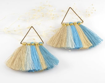 Cotton Tassels, Triangle Multi Tassel in Blue-Beige Mix, 2 x 2 Inch, Multi Tassels for Jewelry Making, Tassel Earrings, Tassel Necklaces