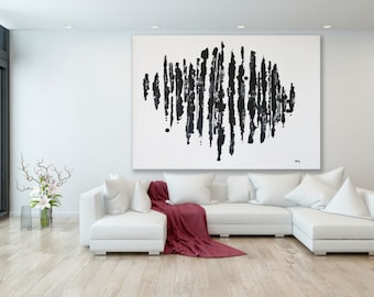 Black and White Abstract Painting / Extra Large Painting / Black and White Painting / Modern Art / Large Art