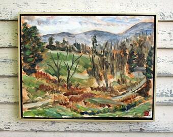 """Patneaude Lane, Karme Choling Vermont, Plein Air Landscape Oil Painting, 14x18"""""""