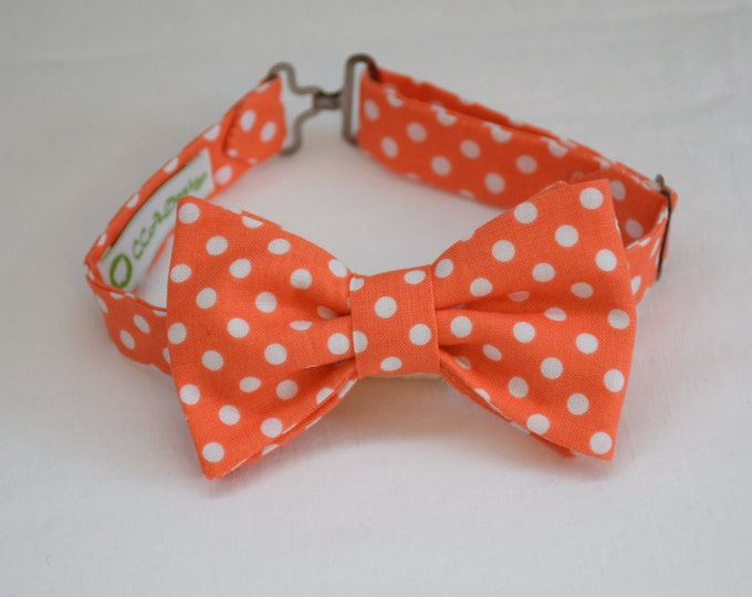 Boy's pre-tied Bow Tie, coral/white polka dots, father/son matching ties, wedding accessory, toddler bow tie, ring bearer bow tie, LAST ONE