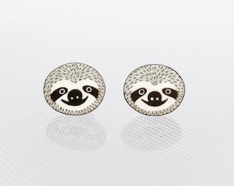 Sloth Earrings, Sloth Jewelry, Sloth Jewellery, Sloth Gifts, Animal Earrings, Animal Jewelry, Animal Jewellery, Shrink Plastic