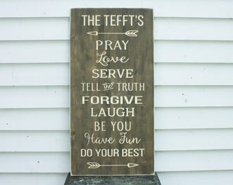 House Rules Family Rules Large Vintage Wood Sign with Arrows - 16x36 Carved Rustic Sign