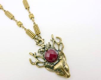 Deer Necklace, brass chain