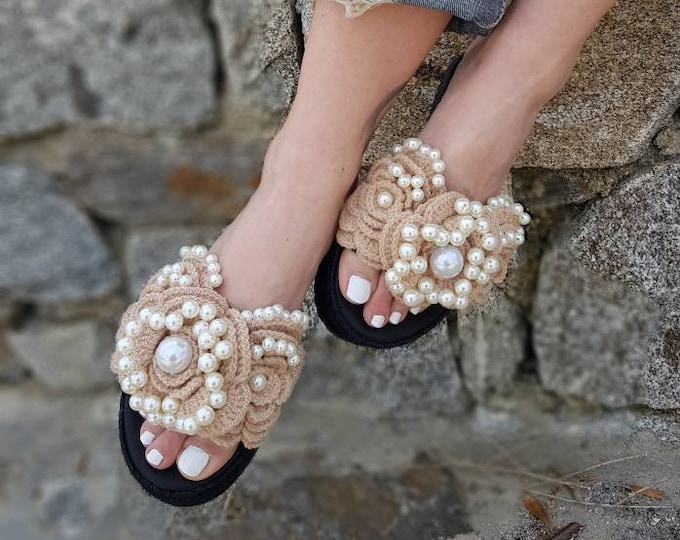 DHL FREE/Greek sandals/leather wedges/crochait sandals/handmade/pearls sandals/luxury wedges/women shoes/wedding/bridal/heel sandals/boho