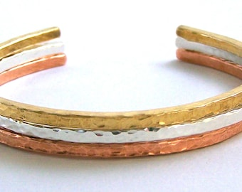 Mixed Metal Stacking Cuff Bracelets - Sterling Silver - Brass - Copper