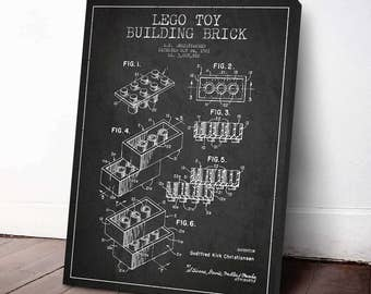 1961 Lego Toy Building Brick Patent, Lego Poster, Lego Print, Lego Decor, Wall Art, Home Decor, Gift Idea, GT12C