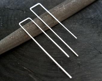 Long Silver Hoop Earrings // minimalist Silver earrings (2)