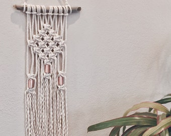 Macrame Wall Hanging with Copper Accents Diamond Shape