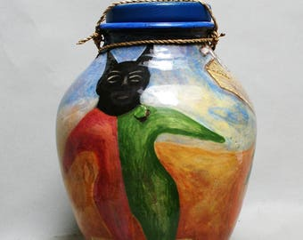 """Pottery Handmade Jars and Containers Ceramics and Pottery Fine Art Ceramics Large Ceramic Vase Canister Art Ceramic Hand Painted 12x8x8x"""""""
