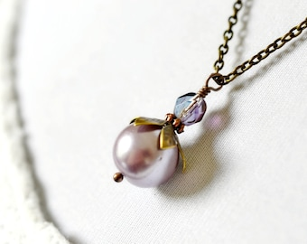 Purple Pearl Necklace, Lavender Beaded Violet Tulip Pendant, Iris, African Violet, Antique Brass Vintage Style Jewelry