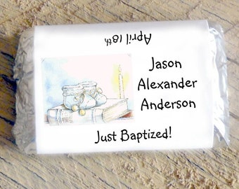 Mini Candy Bar Wrappers for Boy's Baptism, Christening, First Holy Communion Chocolate for Religious Party Favor