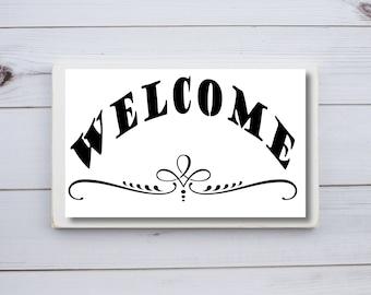 Welcome Stencil, Stencil Welcome, Wood Sign Stencils, Word Stencils, Stencil Patterns, Wedding Sign Stencil, Stencils for Painting