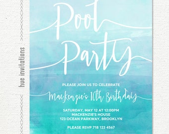 pool party birthday invitation, girls teen birthday invitation, blue watercolor swimming birthday invitation, ombre digital printable invite