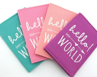 HELLO WORLD Embroidered Passport Cover with Quote, Passport Holder, Passport Wallet, Passport Case, Travel Gift
