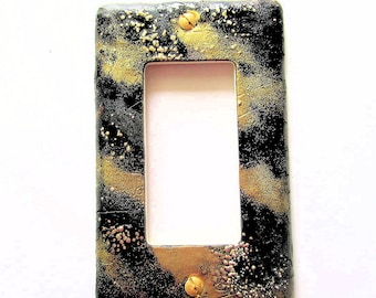 Light Switch Cover, Rocker Switch Plate, Single Switchplate, Black and Gold