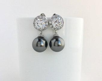 Dark Grey Bridal Earrings Dark Grey Pearl Earrings Dark Grey Pearl Crystal Earrings Grey Swarovski Pearl Earrings Grey Bridesmaid  Jewelry