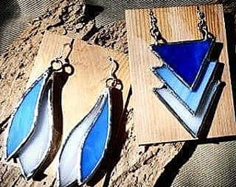 Blue Stained Glass Jewelry Set