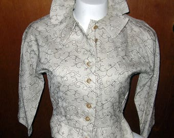Vintage 1950's Beige Embroidered Linen Jacket Top with Peplum and Button Front...Small