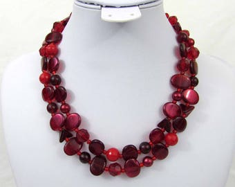 "Germany Red & Burgundy 2 Strand Necklace - 17"" Glass and plastic beads - 1950s-60s - free US shg"