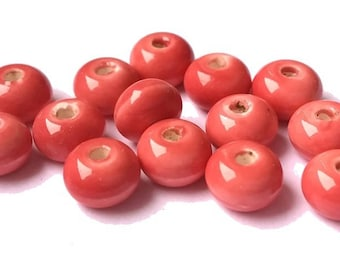"10 pearls ""abacus"" glazed ceramic pink fuchsia/coral (pc97) 5x8mm"