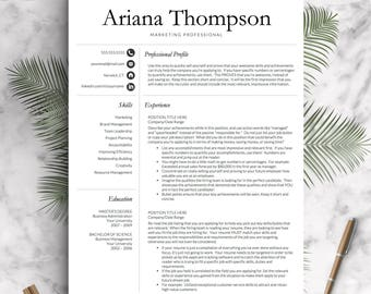 Simple, Professional Resume Template for Word and Pages | 1, 2 and 3 Page Resume Template, Cover Letter, Social Icons | Instant Download