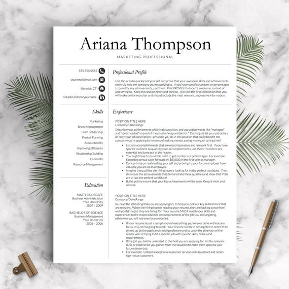 Simple Professional Resume Template for Word and Pages 1 2