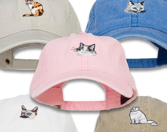 Russian Blue / Siamese / Ragdoll /Persian /Calico Cat Embroidered Washed Cotton Cap