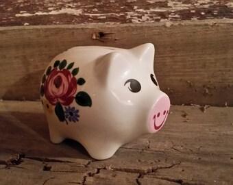 Piggy Bank, Vintage porcelain piggy bank, hand painted piggy bank