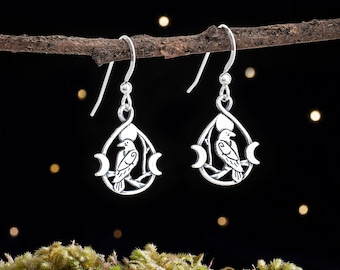 Sterling Silver Raven and Triple Moon Earrings