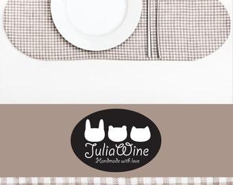 Checkered Placemat, Cloud Placemat Linen Table Mats, Brown Kitchen Decor placemats for kitchen table Brown Placemat Serving Kitchen Mom Gift