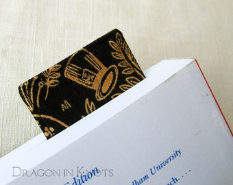 Wonderland Bookmark - Black and Gold Fabric Book Accessory, Mad Hatter's Hat, Alice, Croquet, Throne Room, literary gift for book nerds