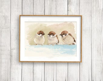 Sparrow Art Print, Wall Decor Bird Watercolor Painting horizontal/ landscape orientation